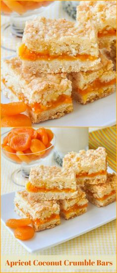 Apricot Coconut Crumble Bars – a buttery coconut crumble bar with a delicious apricot compote filling. Freezes quite well too.