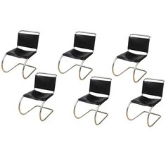Set of Six Classic Mies Van Der Rohe Tubular/Leather MR Dining Chairs 1