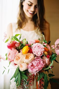 Wedding Flowers | peony, garden rose, and ranunculus bouquet