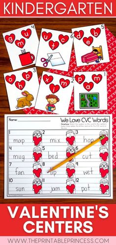 Spread some love with this math and literacy packet that includes 6 centers and 6 extra no-prep practice pages with a fun Valentine's Day theme - perfect for the month of February! Students will practice CVC, digraphs, making 10, adding and counting with these activities that are hands-on, interactive, engaging and perfect for Kindergarten! Kindergarten Math Activities, Letter Activities, Kindergarten Classroom, Art Activities, Classroom Ideas, Literacy, Number Recognition Activities, Teaching Numbers, First Grade Classroom