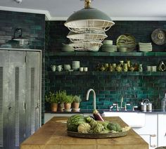 Is it true that you are searching for some unordinary yet infectious and appealing kitchen plan? At that point for what reason don't you decide on a green kitchen? Green kitchen is inventive and this kitchen structure looks rich as… Continue Reading → Kitchen Interior, Kitchen Inspirations, Kitchen Tile, Kitchen Remodel, Kitchen Decor, New Kitchen, Green Kitchen, Home Kitchens, Kitchen Tiles