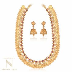 Traditional Gold Haram With Jhumka ~ South India Jewels Gold Jewellery Design, Gold Jewelry, Gold Haram, Gold Coin Necklace, Neck Piece, Traditional Looks, South India, Gold Coins, Gold Pendant