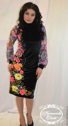 Купить или заказать вышивка лентами в интернет-магазине на Ярмарке  Мастеров. платье из велюра черного цвета рукава из гипюра с цветочным  принтом  9176db980fca1