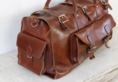 Dark Brown Leather Travel Satchel Bag