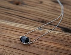 Black onyx and sterling silver chain drop necklace
