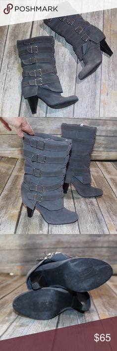 MIA Gray Heeled Boot size 7.5 EUC MIA Grey Heeled Boot suede size 7.5 Little to no wear on these boots  5 decorative buckles on each boot MIA Shoes Ankle Boots & Booties
