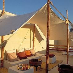 roof terrace canvas tent branches