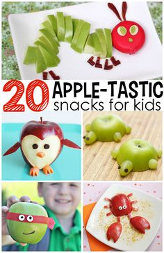 Lecker Apfel! Lustige Ideen für #Kinder #Snacks //Adorable Apple Snacks for Kids to Make & Eat! |