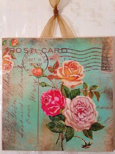 Vintage Shabby Roses Green Postcard Wall Decor Sign Plaque French Country Chic #FrenchCountry