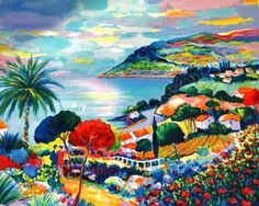 Bahía en primavera, Jean-Claude PICOT, Litografía original firmada, gran formato, Decoración niña, Costa azul, Alegría de vivir, Paisaje