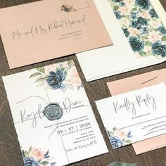 Blush and Navy Deckled Edge Wedding Invitation Set with Wax Seal & Watercolor Florals, Elegant Modern Romantic Invite, Spring Summer Fall Bohemian Wedding Invitations, Classic Wedding Invitations, Floral Invitation, Elegant Wedding Invitations, Invitation Envelopes, Floral Wedding, Boho Wedding, Wedding Decor