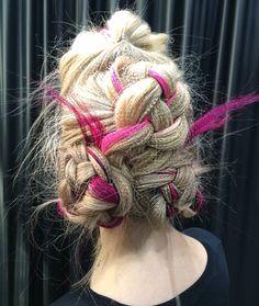 Fishbone braid and 4-strand braids with Pravana Vivids extensions added. Hair & Makeup: Sherri Jessee  iphone pic: Sherri Jessee at America's Beauty Show www.sherrijessee.com