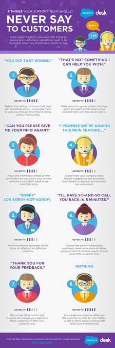 #Infographic: 8 Things Your Support Team Should Never Say to Your Customers Marketing Services, Sales And Marketing, Marketing Digital, Business Marketing, Social Media Marketing, Marketing Branding, Marketing Ideas, Affiliate Marketing, Customer Service Training
