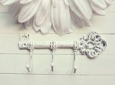 Gancio chiave ghisa / Shabby Chic Decor / chiave di ferro / scheletro chiave / parete portachiavi / chiave Rack / decorativi chiave gancio / gancio a parete Shabby Chic