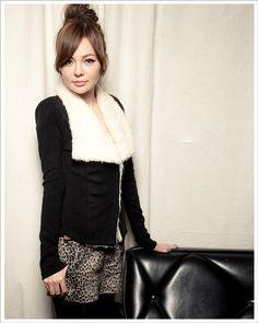 Golilla Long Sleeve Ladies Skinny Black Blends Coat One Size @FZ60116b