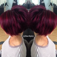 #KenraColor combination of Magenta, Violet/Red and Black. Beautiful Dimension. #ShortHair #StylezByTara follow me on Instagram: StarStylez for more beautiful hair pics!