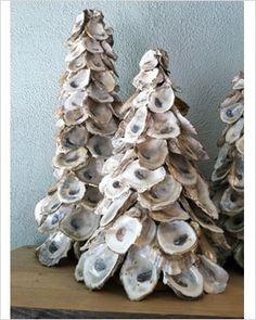 Oyster Tree next years christmas craft! Start eating oysters now! Nautical Christmas, Christmas Tree Design, Beach Christmas, Glass Christmas Tree, Noel Christmas, All Things Christmas, Christmas Decorations, Christmas Ornaments, Xmas Tree