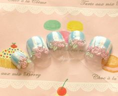 Fairy kei Japanese nail art rose stripes french tips by Aya1gou, $19.00
