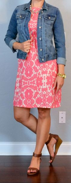 Outfit Posts: outfit post: peach/pink floral dress, jean jacket, brown wedge sandals