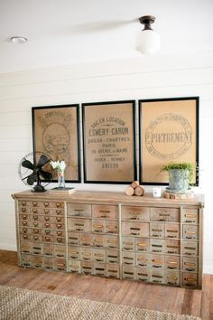 "love this old cabinet / card catalog / whatever it is... How to fake the ""Fixer Upper"" Look"