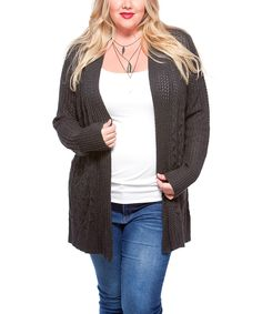 Love this Belldini Heather Charcoal Pointelle Open Cardigan - Plus by Belldini on #zulily! #zulilyfinds