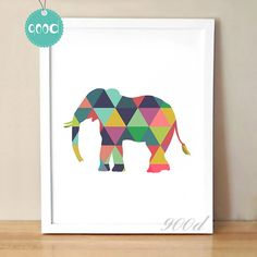 Colorful Geometric Elephant Canvas Art Print Poster,Wall Pictures for Home Decoration,Frame Not Include Indian Art Paintings, Cheap Paintings, Elephant Canvas Art, Elephant Paintings, Elephant Poster, Geometric Elephant, Poster Wall, Poster Prints, Paint Chip Art