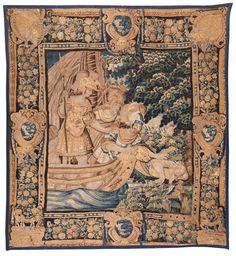 321 x 284 cm. Brüssel, 17. Jahrhundert. Hochformatig, mit breiter, mit Blütenfestons dekorierter Borte sowie großen Eck- und Zwischenkartuschen, die in...