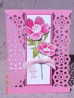 Lace Ribbon Punch Card - fabulous florets/secret garden