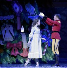 "The Nutcracker Prince places a crown on Clara, Sarah Waller in the Kingdom of the Snow in Act 1 during Wednesday's dress rehearsal of ""The Nutcracker"" by the Kansas City Ballet at the Kauffman Center for the Performing Arts on December 2, 2015 in Kansas City, MO."