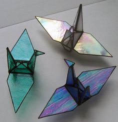 Stained Glass Origami Sadakos Peace Crane by Suncatchercreations