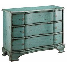 "Stein World Painted Treasures 3 Drawer Crackle Accent Chest - top of stairs.  34"" h x 44"" w x 17"" d Three drawers, gently curved Heavy crackle hand painted vintage Turquoise blue finish $574"