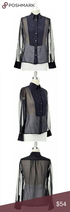 **SOLD***See by Chloe navy blue button-down NEW Flawless Pointed collar button front blouse by see by Chloe. Silk and sheer cotton blend with a double bib front. Long-sleeve button-up the cuff. A lovely versatile classic. Deep navy blue and a woman's regular size 6 medium. True to size. See by Chloe Tops Button Down Shirts