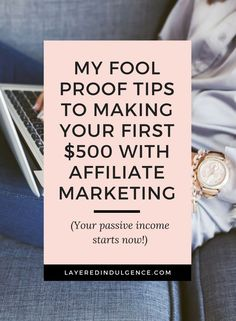 Are you a blogger or entrepreneur who's looking to make passive income with your blog or business? I just made my first $500 with affiliate marketing and I'm letting you in on some smart ideas and tips! Find out the best programs to make money for beginners with my affiliate marketing blue print! Click through to check out my post and save it for others to read too!