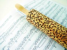 Rolling pin MELODY. Embossing Rolling Pin with Musical Notes for embossed cookies