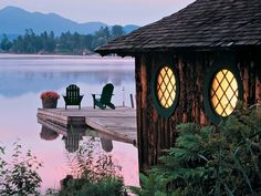 Adirondack chairs on Mirror Lake in the Adirondack Mountains