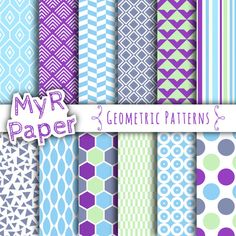 """With Love By MyRpaper #patterns #design #graphic #paperdesign #papercraft #scrapbooking #digitalpapers Geometric Digital Paper : """"Geometric Patterns"""" Digital Paper Pack & Backgrounds with Triangles, Stripes, Hexagons in Bright Shades of Blue  HELLO AND WELCOME TO MY SHOP  Th..."""