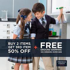 Spring savings are in bloom! Visit www.frenchtoast.com + use the code QEPDFA for big savings. Valid thru 4/12. #SpringSavings #schoolwear #kidsstyle