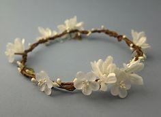White rustic bridal crown, flower crown, woodland wedding, white floral circlet, halo, boho head piece, floral headband, bohemian - BETH $75.00