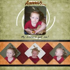 Scrapbook page with 4 photos.  Love the diamond affect at the bottom.
