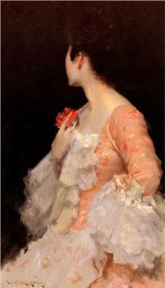 "ArtG098. William Merritt Chase ""Portrait of a Lady"" / Oil on canvas / 51.4 x 86.4 cm / 1890"