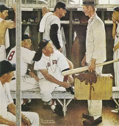 Norman Rockwell (1894-1978) The Rookie (Red Sox Locker Room) signed 'Norman/Rockwell' (lower center) oil on canvas 42 1/2 x 40 in. (108 x 101.6 cm.) Painted in 1957.