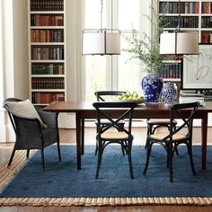 Vineyard Rectangular Dining Table #williamssonoma    Wrong color palette, but love the scale and mix match chairs of this furniture