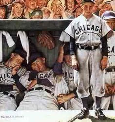 This hangs in our baby's room. LOVE how Norman Rockwell captured what it's like to be a Cubs fan so well!
