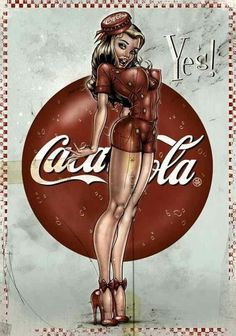 Modern Pinup prints- Cotton Sheet- Quilt Block-Applique -Vintage Coca Cola-Coca Cola Symbols-Sexy Pin-up Coca Cola Girl Coke Yes. Pinup Art, Rockabilly Art, Pin Up Posters, Poster S, Vintage Pins, Vintage Art, Dibujos Pin Up, Coca Cola Ad, Pepsi