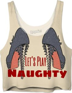 Let's Play Naughty! Sexy fetish high heels, steel blue, kinky crop top - Item printed by RageOn.com, also available at casemiroarts.com