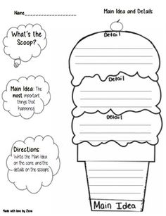 An excellent worksheet to help organize students, and teach main idea and detail. This worksheet can be used for a range of grades, when used for younger students, you can have them decorate the ice cream cone to their liking! :)