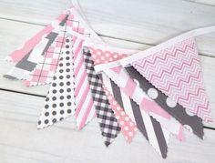 Bunting Fabric Banner Fabric Flags Girl Nursery by thespottedbarn