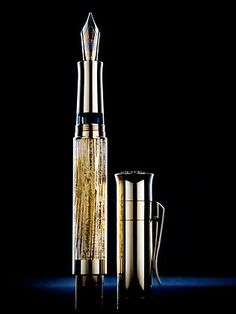 Graf von Faber-Castell's Pen of the Year, featuring 1700-year-old wood and gold leaf.