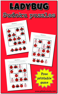 Free printable Ladybug Sudoku Puzzles for kids! #Sudoku #freeprintable #insects #ladybugs #giftofcuriosity    Gift of Curiosity
