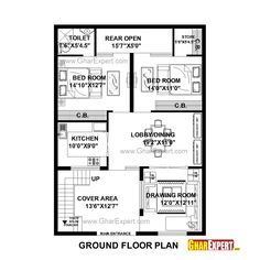 House Plan for 31 Feet by 43 Feet plot (Plot Size 148 Square Yards) 2bhk House Plan, Three Bedroom House Plan, House Layout Plans, Duplex House Plans, Luxury House Plans, Best House Plans, House Floor Plans, Home Map Design, Duplex House Design